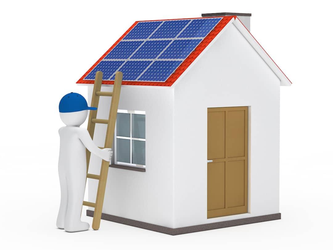 Représentation d'un toit équipé d'une installation photovoltaïque pour produire de l'énergie renouvelable
